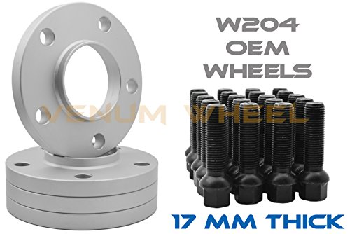 Full Set of Mercedes Benz 17mm Thick Hub Centric Wheel Spacers 5x112mm 66.56 Hub Bore w/ Black Ball Seat Lug Bolts C350 C300 C250 2008-201401 (Mm Aluminum Wheel Spacers)