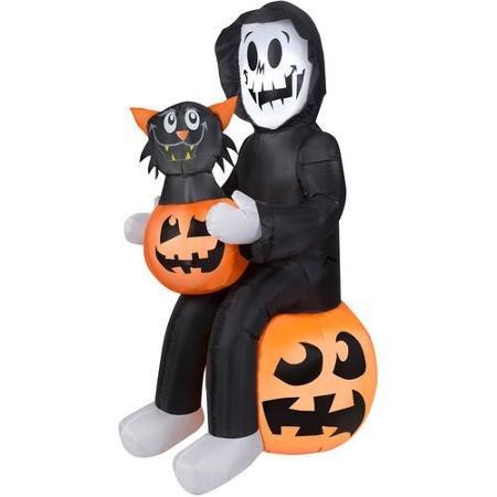 4.5' Tall Reaper's Pumpkin Surprise Scene Halloween Airblown Inflatable