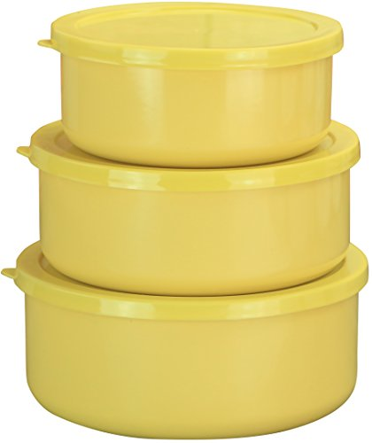 (Calypso Basics by Reston Lloyd 6-Piece Enamel on Steel Bowl/Storage Set, Lemon)