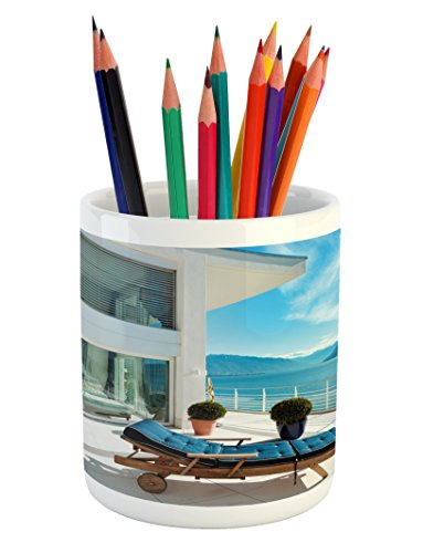 Cheap  Travel Pencil Pen Holder by Lunarable, Lake House with Patio Balcony with..