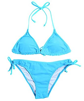 Amazon.com: Halter Traingle Bikini Set, Tie Side Bottom