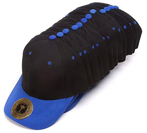 TopHeadwear Blank Adjustable Baseball Cap - 12-Pack - Black/Royal (Hats For Wholesale)