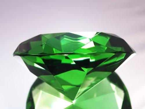 Emerald Crystal Diamond Jewel Paperweight 100mm