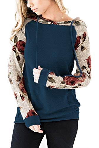 EIFFTER Women Floral Print Pullover Hoodie Casual Long Sleeve Drawstring Hooded Sweatshirt Pocket (X-Large, A5) - Hooded Double Pockets