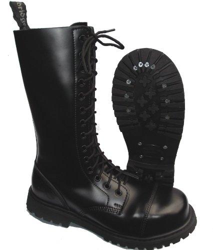 Knightsbridge 14-Loch Springerstiefel UK Gothic Style Boots schwarz Gr. 37 - 47 44,Schwarz