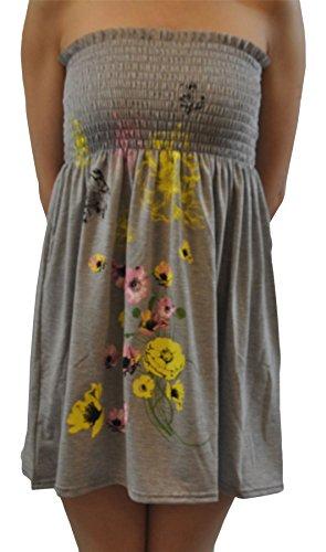 Tops Floral Pickle Grey Summer New Boobtube XL Womens S Mini Flared Print Chocolate Swing Stretch Dress Ag7qqwt