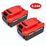 jolege PCC685L 20V Max 5.0AH Lithium Ion Battery Replacement for Porter Cable PCC685L PCC680L PCC682L PCC600 PCC640 PCCK602L2 20-Volt Porter Cable Cordless Power Tools (2 Pack)