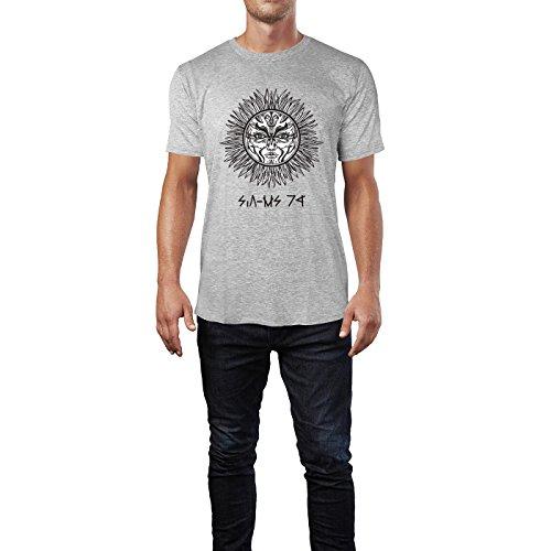 SINUS ART® Romantisches Sonnensymbol Herren T-Shirts in hellgrau Fun Shirt mit tollen Aufdruck