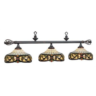 Billiard Light w End Finials On Rod & Three Glass Shades - Custom Billiard Lamp Glass Stained