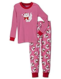 Sara's Prints Girls' Holiday Christmas Cat 2 Piece Pajama Set, Kids Sizes 2-14