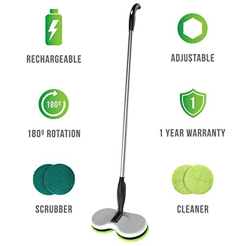 Electric Floor Scrubber - Gladwell Cordless Rechargeable Electric Mop - Floor Cleaner + Scrubber Dual Head Spin Rotating Design 3-in-1 Extendable Handle For Wood Tile Marble Stone Vinyl and Laminated Flooring + 1 Year warranty