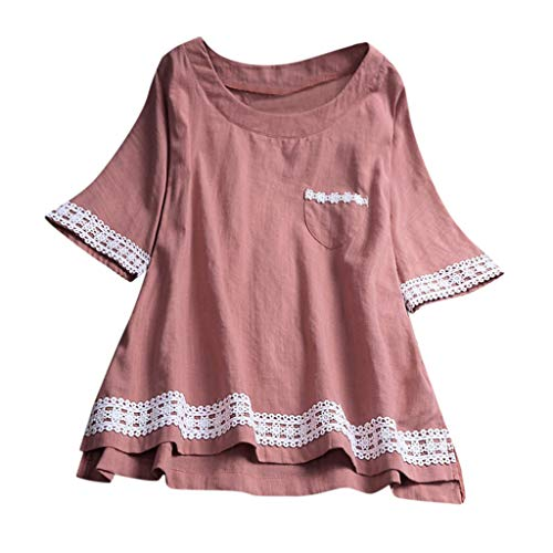 POQOQ Blouse Womens Casual Plus Size Loose Linen Sleeve Lace Button Tanic Shirt(Pink,XL)]()