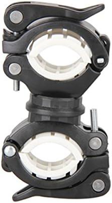 Blanco CUHAWUDBA 360 Grados Bicicleta giratoria luz de la Bicicleta Doble Soporte LED Frontal Linterna lampara Manejar de la Bomba Accesorios de Bicicleta Negro