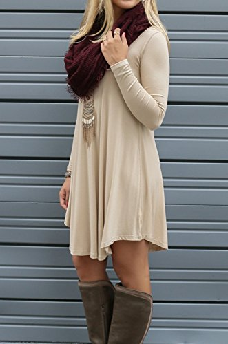 72823b586e ... Loose Cyber TINYHI Pockets Flowy Monday Women s T Fit Long Beige Dress  Shirt Swing Sleeve Casual ...