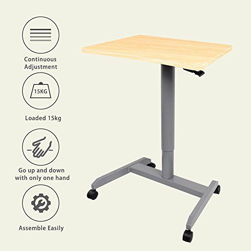 Standing Desk, Multipurpose and Height Adjustable Computer Desk for Home, Office (Light Wood) by Amoiu (Image #2)