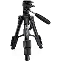 Mini Tripod Stand Mactrem Scope Camera Small Tabletop Tripod MT21 Projector Tripod with 3-Way Pan/Tilt Head, Quick Release Plate and Carrying Bag, Aluminum,( Black )