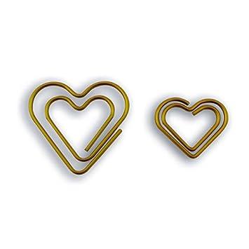 9 Herzen Buroklammern Golden Amazon De Kuche Haushalt