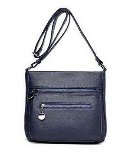 VogueZone009 Femme Cartable Sacs à bandoulière Achats Sacs à main d'embrayage, CCAFBP181602, Rouge Vineux Bleu