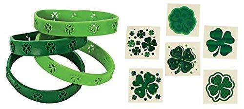 72 pc Shamrock Bracelets and 72 Shamrock Tattoos - bulk St Patricks day Class Pack party favors and prizes