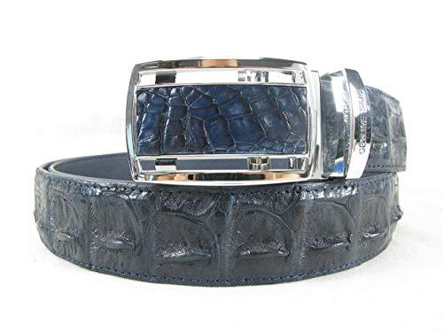 Authentic Crocodile Skin Men's Big Hornback Belt Blue Adjustable ()