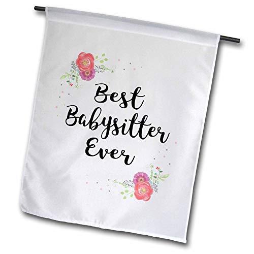 3dRose InspirationzStore - Love Series - Floral Best Babysitter Ever Watercolor Pink Flowers Baby Sitter Gift - 18 x 27 inch Garden Flag (fl_315723_2)