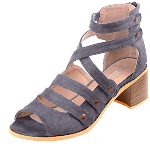 (Duseedik Women's High Heel Sandals Ladies Zipper Summer Ankle Square Heel Breathable Peep Toe Outdoor Shoes Gray)