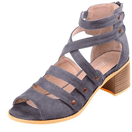 - Duseedik Women's High Heel Sandals Ladies Zipper Summer Ankle Square Heel Breathable Peep Toe Outdoor Shoes Gray