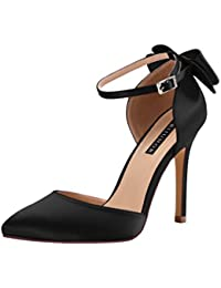 Women High Heel Bow Ankle Strap Evening Party Dance...