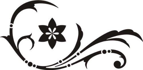WANDTATTOO / Wandaufkleber - e47 wunderschönes Tribal / Blätter / Blumen / Pflanzen Ranke 80x39 cm - schwarz