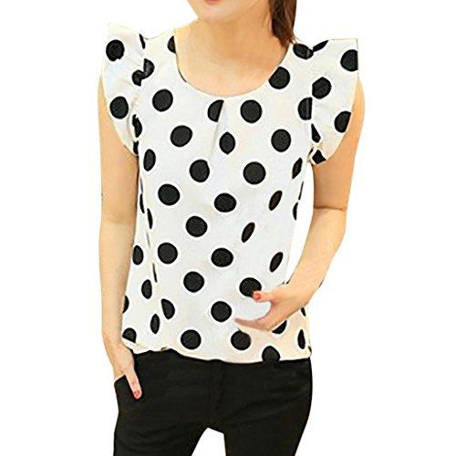 vermers New Women's T-shirt Casual Chiffon Blouse Short Sleeve Shirt Summer Fashion Tops (2XL, White)