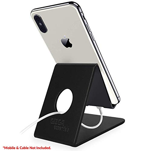 Gizga Essentials G32 Anodized Aluminium Mobile Phone Stand Holder for All iPhone, Tablet and Smartphones (Black)