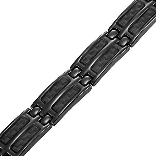 Homme Noir Double rangée Titane Fibre de carbone Bracelet magnétique Noir + sans outil pour enlever des maillons de Willis Judd