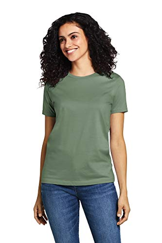 Lands' End Women's Tall Supima Cotton Short Sleeve T-Shirt - Relaxed Crewneck, M, Hedge Green