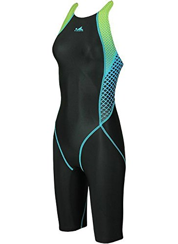 YingFa 943 One Piece Shark Scale Full Knee Training & Racing Swimsuit Black/Blue, (Women's - First Time Priority Class Mail Delivery
