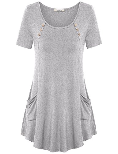 Jazzco Tunic Dress, Women Short Sleeve Round Neck With Pockets Casual Loose Fitting Tunic Flowy T Shirts Tops(Grey,Large) from Jazzco