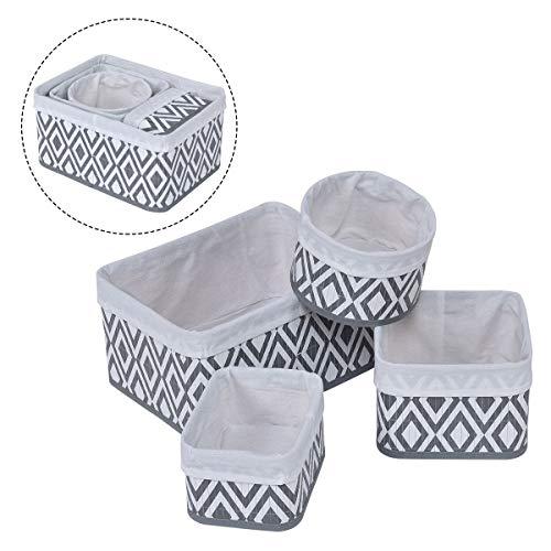 Nested Lined Baskets - Wooden Storage Basket Set Fabric Lined Nesting Bamboo Wood Organizer Bins Box 4 Piece Set