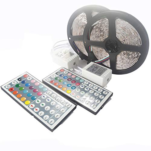 CMrtew 2Set 5M 16.4ft 5050 WiFi LED Strip Sync to Music Rhythm Non Waterproof RGB SMD Tape Ribbon Working with System 300 44 Key Remote DC