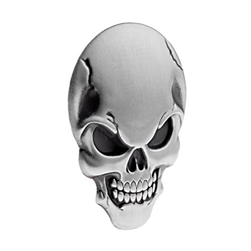 1X Chrome Silver 3D Skull Demon Bone Badge Emblem Decal Sticker Decoration Fender Compatible For Harley Motorcycle Cruiser Bobber Chopper Sport Bike Model