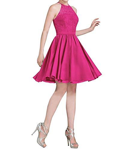 LindaBride Women's Bridesmaid Dress Chiffon Short Halter Lace Wedding Party Formal Dress Fuchsia