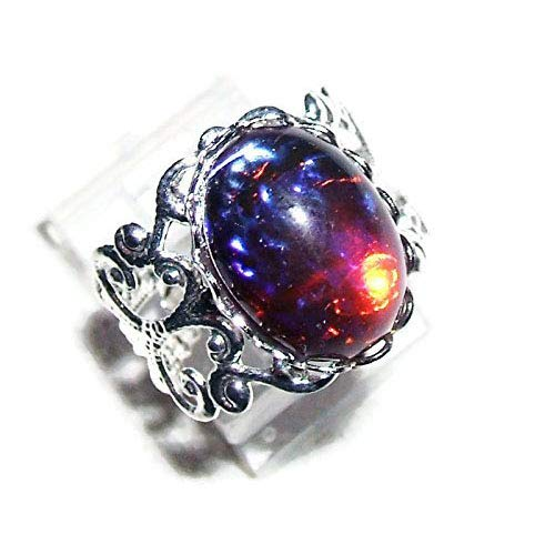(DRAGONS BREATH RING SILVER PLATED CZECH GLASS MEXICAN FIRE OPAL STONE WITH ADJUSTABLE BAND)