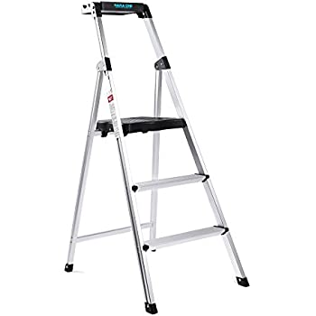 3 Step Aluminum Stepladders Light Weight Folding Home And Kitchen Step  Ladder With Tool Tray Anti