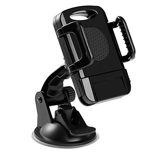 Adjustable Sucker Windshield//Dashboard Universal Car Phone Mount Holder 360-degree Rotation Easy Adjust Lever ABS Black