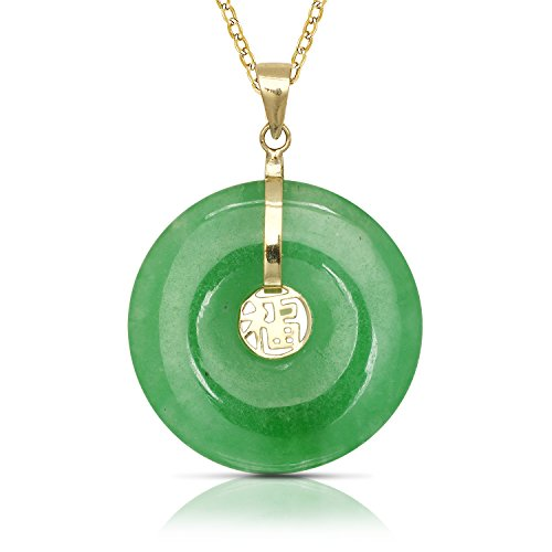 JewelryWeb 14k Yellow Gold Dyed Green Jade Circle Donut Pendant Necklace (20mm x 30mm)(3-Lengths) (No-Chain-Included)