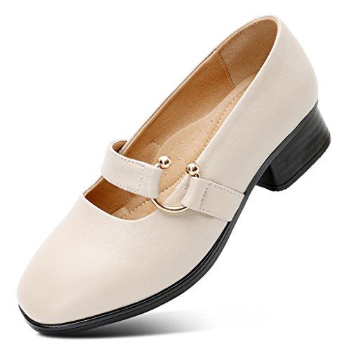 588ea4e8c4ac2 Durable Modelando ZCJB Mamá Zapatos Mujer Cuero De Tacón Medio Fondo Suave  Boca Poco Profunda Zapatos