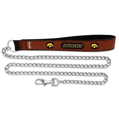 Ncaa Iowa Hawkeyes Leather Football - NCAA Iowa Hawkeyes Football Leather 2.5mm Chain Leash, Medium