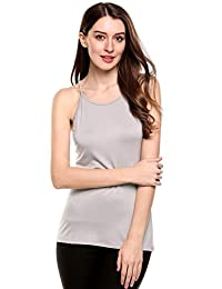 Meaneor Women Casual Cotton Basic Solid Slim Fitted Camisole Cami Tank Tops