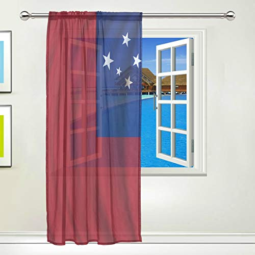 Pins Lapel Samoa (super3Dprinted Samoa Flag Window Sheer Curtain Panels, Door Window Gauze Curtains for Living Room Bedroom Kid Office Home Decor 55x84 inch)