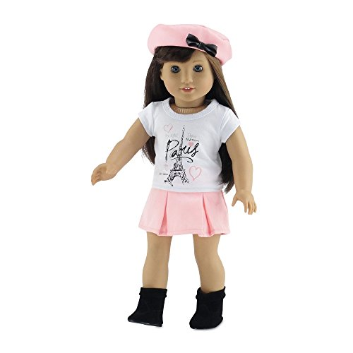 18 Inch Doll Clothes | Lovely Pleated Skirt Outfit, Including Matching Beret Style Hat with Bow, T-Shirt with Eiffel Tower Paris Graphic and Black Faux Suede Ankle Boots | Fits American Girl Dolls -