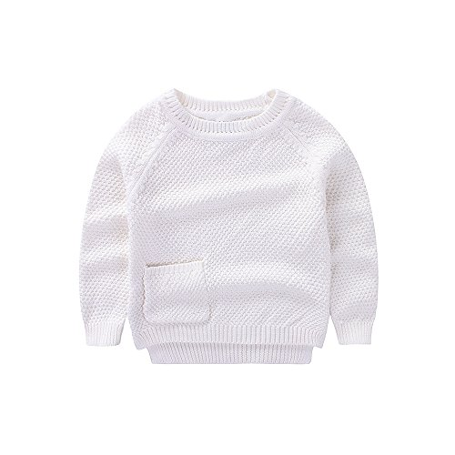 WeddingPach Baby Boys Girls Crochet Sweater Infant Kids Cotton Cardigans Casual Pullover 6M-4T (2T, White) ()