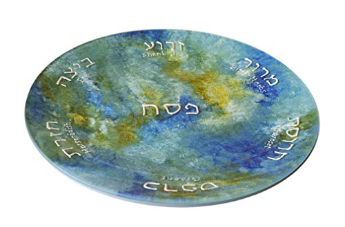 """Sand and Water Creations Hand Painted Seder Plate 12"""" Blue Green"""